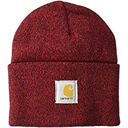 Carhartt Men's Acrylic Watch Hat A18, Red/Navy, One Size