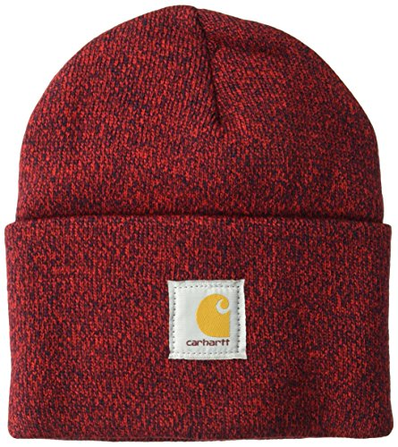 Carhartt Men's Acrylic Watch Hat A18, Red/Navy, One Size (25 100 Christmas Gifts)