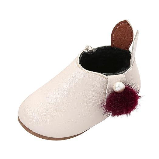 Toddler Baby Girls Cute Rabbit Ears Ball Sneaker Boots Zipper Casual Shoes