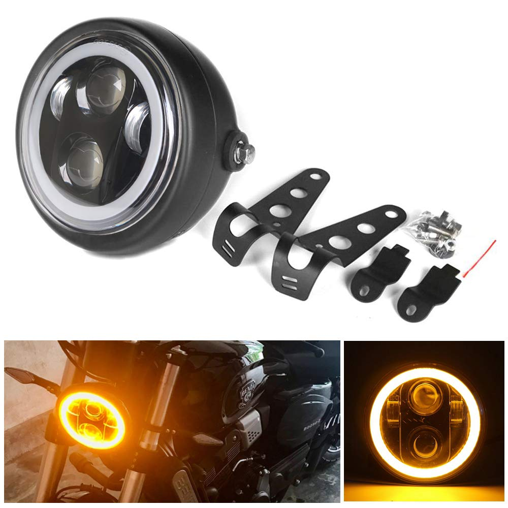 HOZAN 5-3//4 Red Halo Ring LED Projector Headlamp for Harley Dyna XG 750 883 Street Bob 72 48 883 1200 Night Road Indian Scout