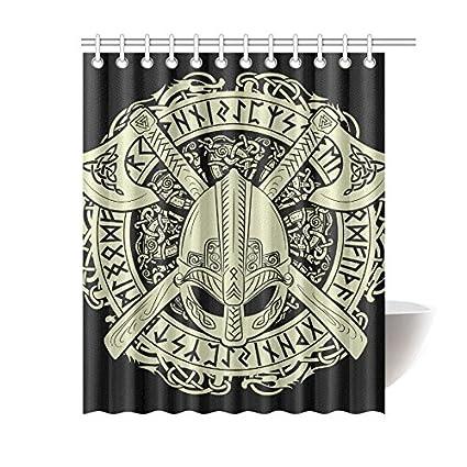 Shower Curtain Viking Helmet Polyester Fabric Print Bathroom 60X72 Inch Bath Decorations Decor