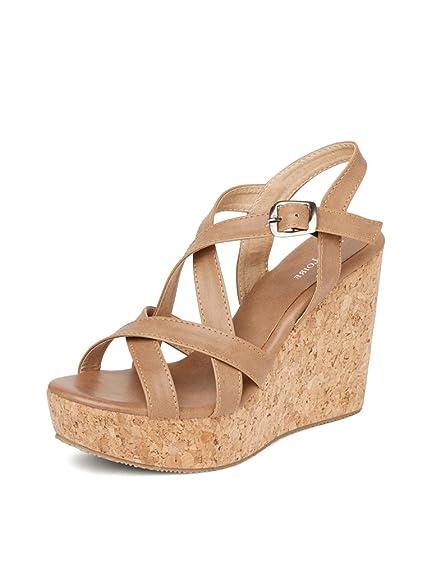 03c3e19e9c8df MarcLoire Open Toe Wedges Heels for Women,Marc Loire Wedges Sandals,  Girls/Ladies,Tan, Size - 3UK/IND to 8UK/IND