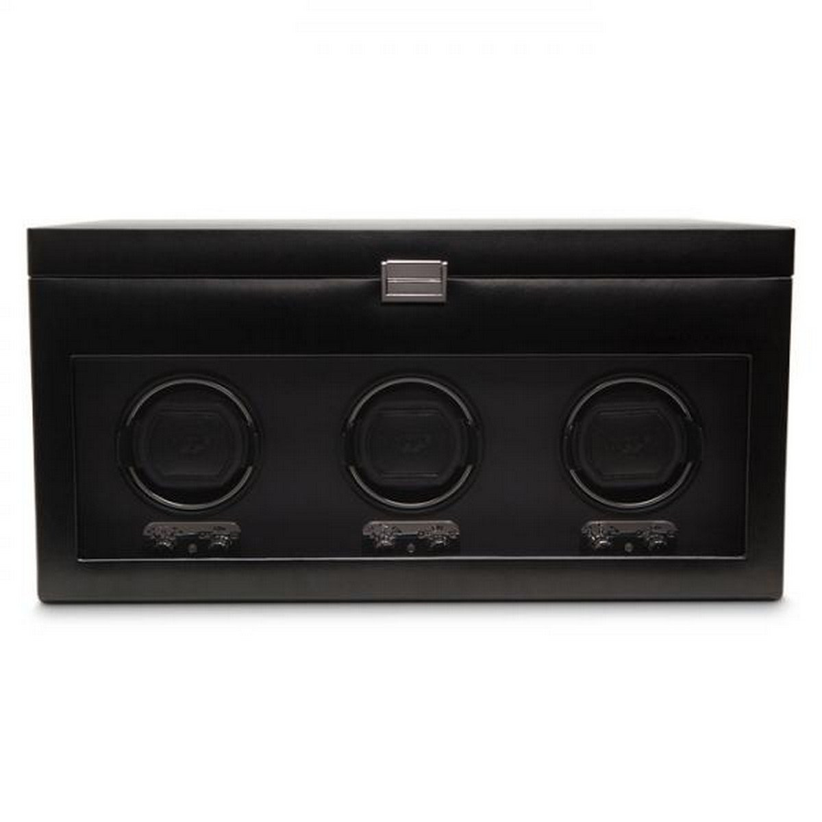 Men's Triple Watch Winder in Faux Leather w/ Glass Cover 5 piece Storage Box and Removable Travel Case