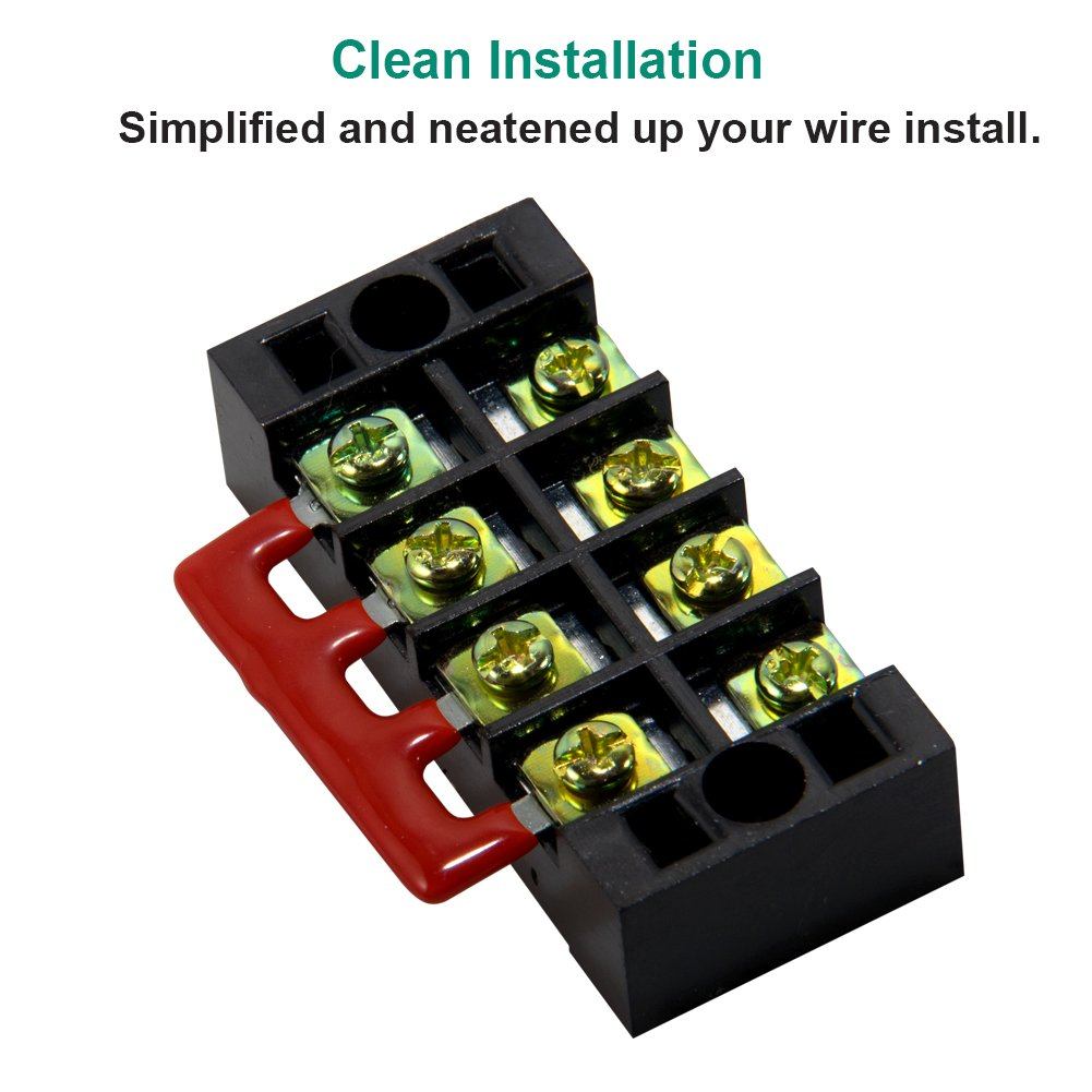 12 pcs 4 pcs 8 Positions 600V 25A Dual Row Screw Terminal Strip with Cover Terminal Block Black//Red by MILAPEAK 8 pcs 400V 25A 8 Positions Pre-Insulated Terminal Barrier Jumper Strips 4 Sets