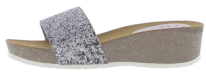 Keil Pantoletten Silber Absatz 5cm und 2cm Glitzer Tablett - 40 PXimmlJLEj