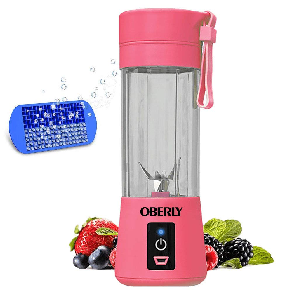 Portable Blender, OBERLY Smoothie Blender USB Juicer Cup - Six Blades in 3D, 13oz Fruit Mixing Machine with 2000mAh Rechargeable Batteries, Ice Tray, Detachable Cup, Perfect Blender for Personal Use (FDA, BPA Free)