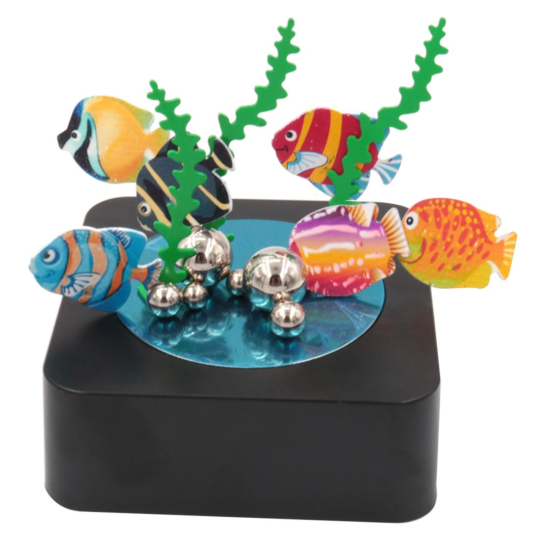 AblueA Magnetic Sculpture Desk Toy Coffee Table Piece As Office Gift Stocking Stuffer (Square Base - Fish)