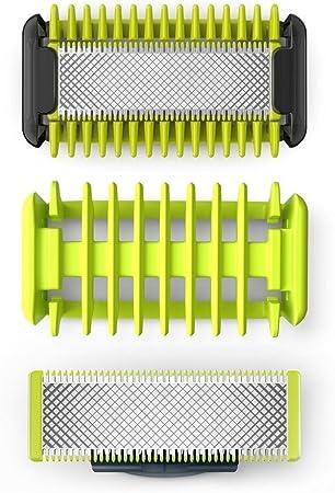 1 cuchilla para cara, 1 para cuerpo, 1 peine-guía para el cuerpo,Protector para la piel de montaje s