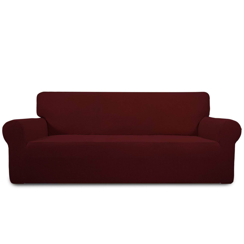 Easy-Going Stretch Sofa Slipcover 1-Piece Sofa Cover Furniture Protector Couch Soft with Elastic Bottom Anti-Slip Foam Kids, Spandex Jacquard Fabric Small Checks(Sofa,Wine)