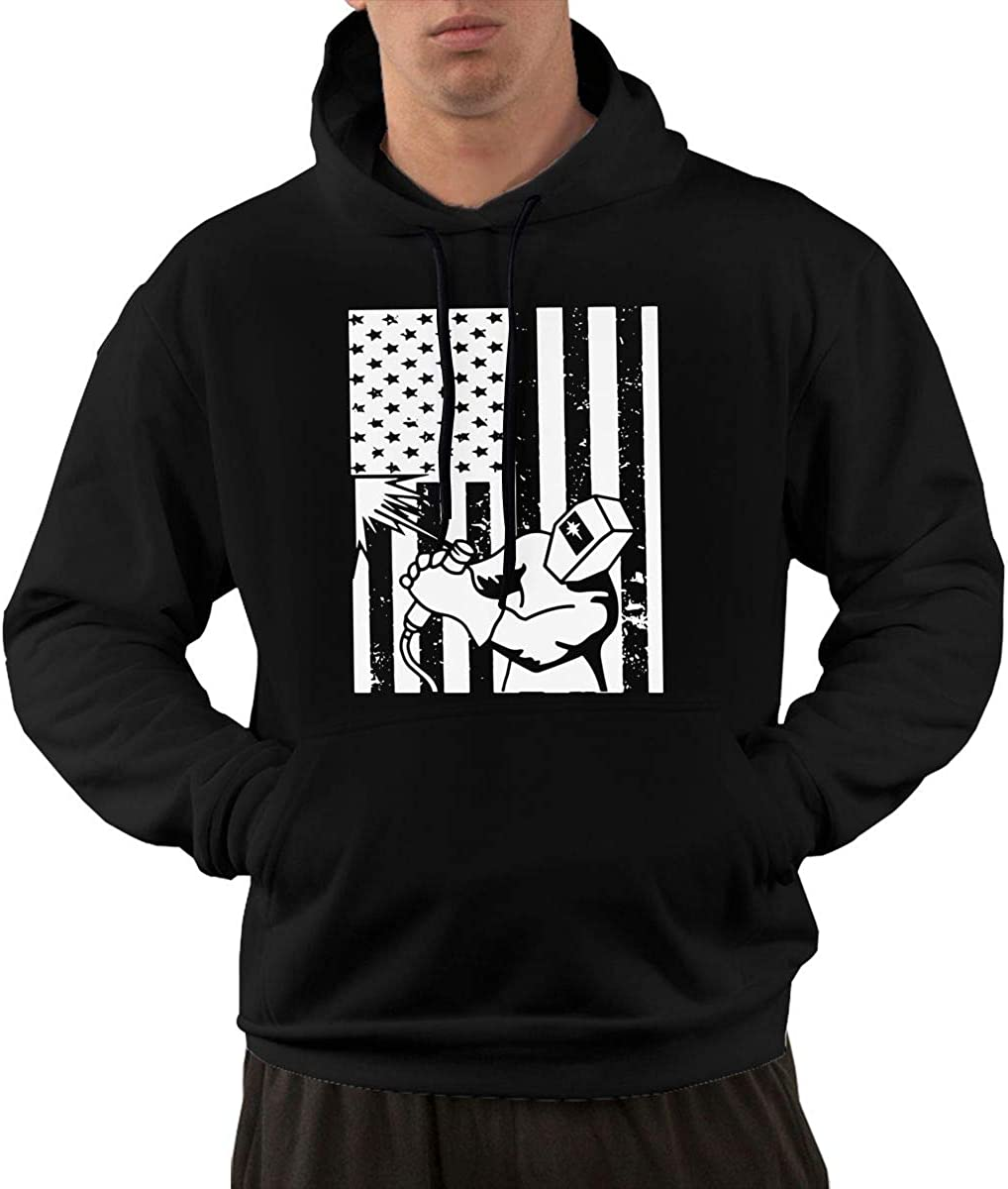 Athletic Cotton Sports Pullover with Pocket for Men Ou30IL@WY Mens American Flag Welder Hooded Fleece