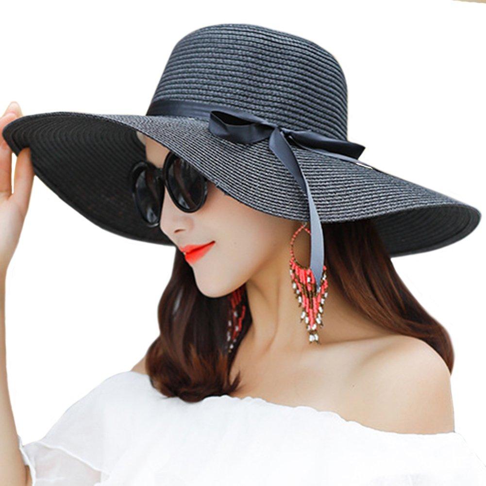 Itopfox Women s Big Brim Sun Hat Floppy Foldable Bowknot Straw Hat ... 4b4877e2693d