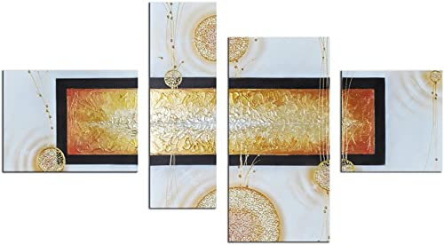 Noah Art-Modern Abstract Art Paintings, 100 Hand Painted with Acrylic Abstract Artwork Stretched Abstract Oil Painting on Canvas, 4 Piece Framed Gold Abstract Wall Art for Living Room Wall Decor