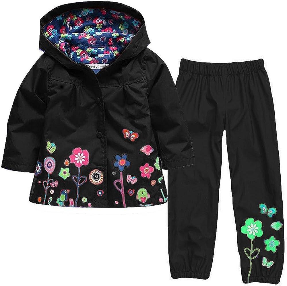 Wennikids Girl Kid Flower Boy dot Waterproof Hooded Coat Jacket Outwear Raincoat