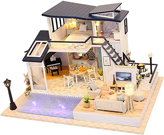 1//24 DIY Project Dollhouse Villa Kits with LED Creative Room Birthday Gifts