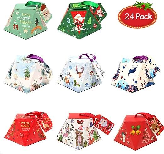 24 piezas navidad cajas de regalo con etiquetas,caja de caramelos ...