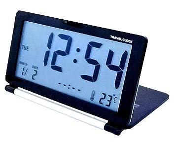 momo Reloj Despertador Inteligente Doblez Viajar Electrónico Despertador con luz de Noche Ultra Delgado Mudo Portátil Gire la Tapa Alarm Clock Calendario ...