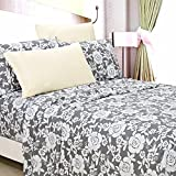 American Home Collection Deluxe 6 Piece Printed Sheet Set Highest Quality Of Brushed Fabric, Deep Pocket Wrinkle Resistant - Hypoallergenic (Queen, Jayden Grey Floral)