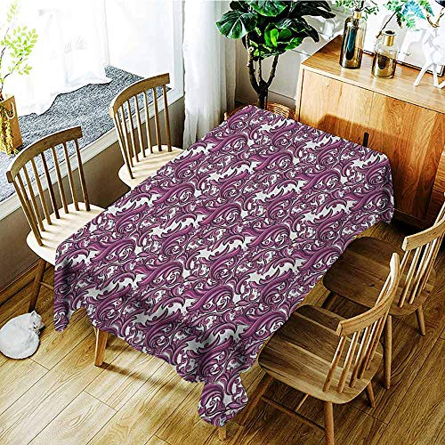 (XXANS Waterproof Table Cover,Vintage,Nature Inspired Abstract Ornament in Pink and Purple Shades Floral Art,Party Decorations Table Cover Cloth,W52x70L Pink Violet and White)