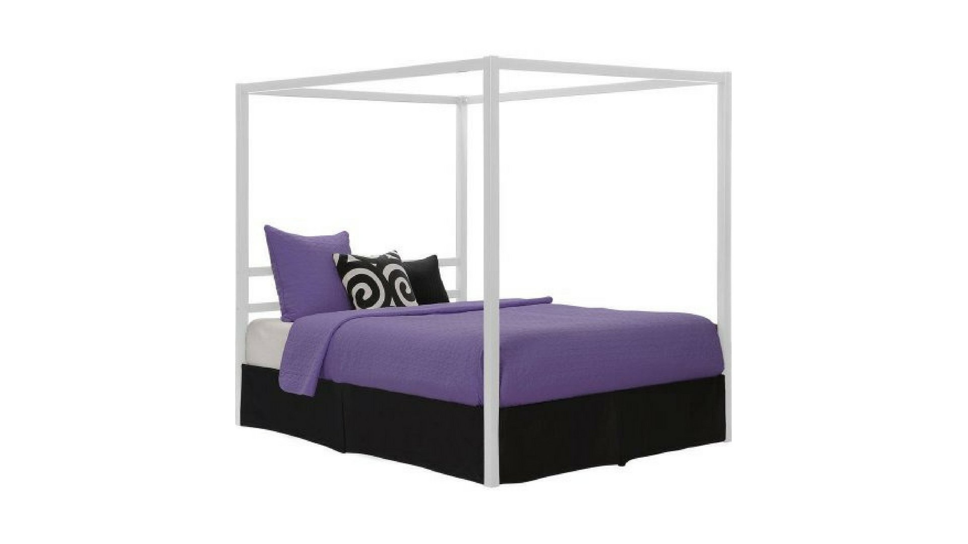 Canopy Bed, White Queen Size Metal Bed Modern Design with Built-in Headboard by DHP* (Image #1)