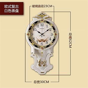AIZIJI Home Mute Relojes Reloj de Pared Reloj Retro de Dibujo de Madera Maciza Dormitorio Jardín gráfico Mural Blanco: Amazon.es: Hogar