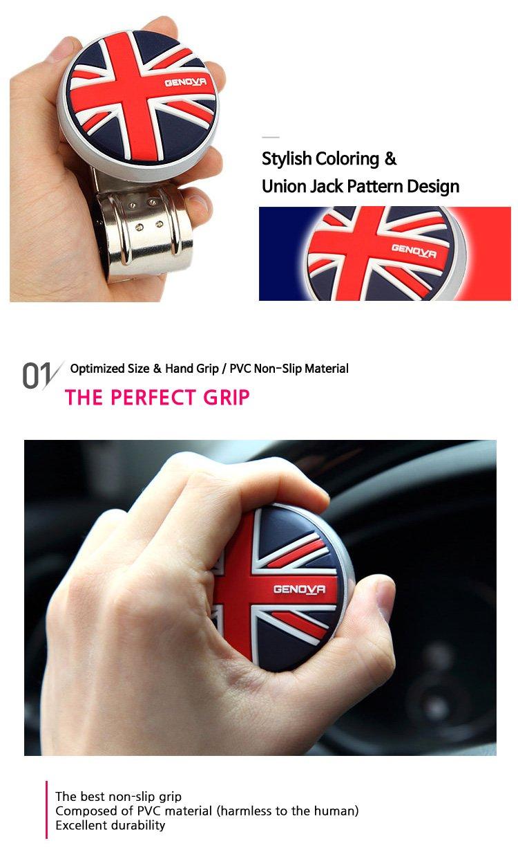 Bulldog Logo Car Steering Wheel Power Handle Spinner Suicide Accessory Knob for Car Vehicle Truck Black//Brown logo