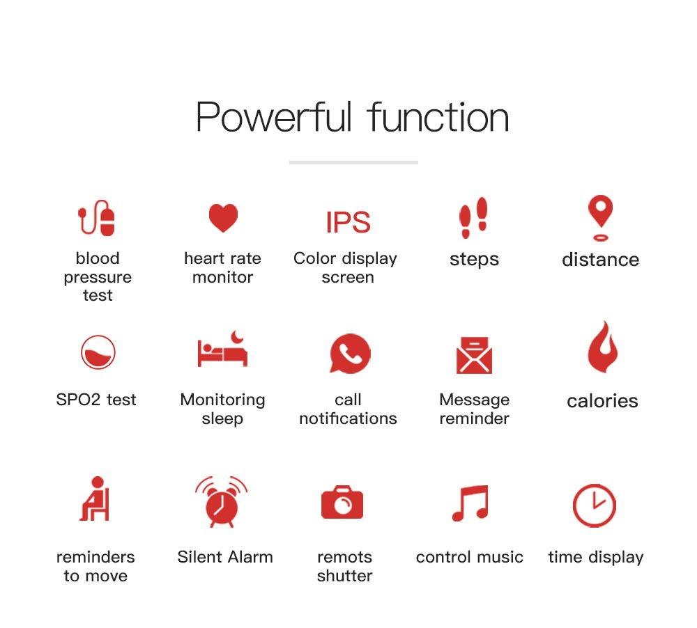 Nuevo Color Smart Pulsera, frecuencia cardíaca Tensiómetro de Sangre sauerstoffm onitoring, pronóstico del Tiempo, Deportes, Resistente al Agua, ...