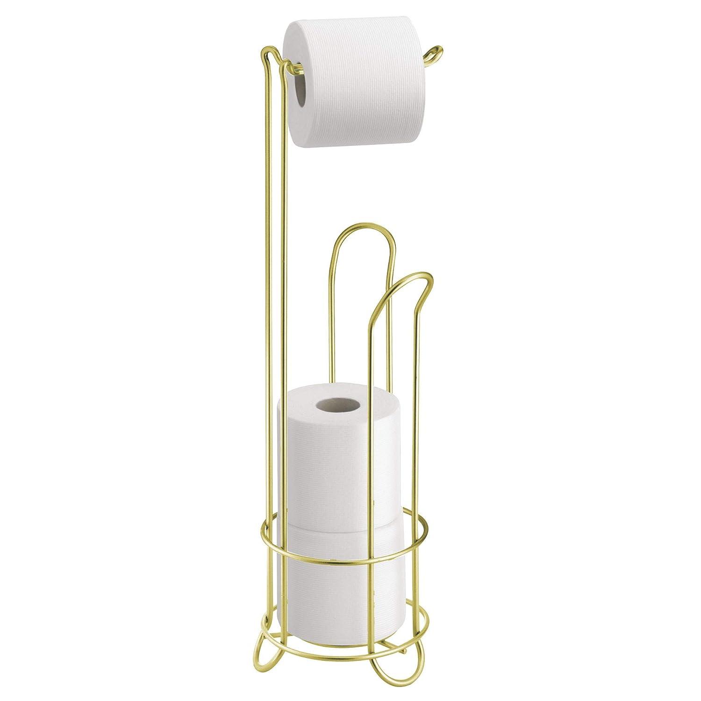 InterDesign Classico Portarrollos de papel higi/énico de pie dispensador de papel de ba/ño de metal lat/ón mate