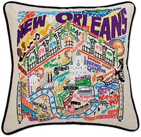 Catstudio New Orleans Embroidered Decorative Throw Pillow