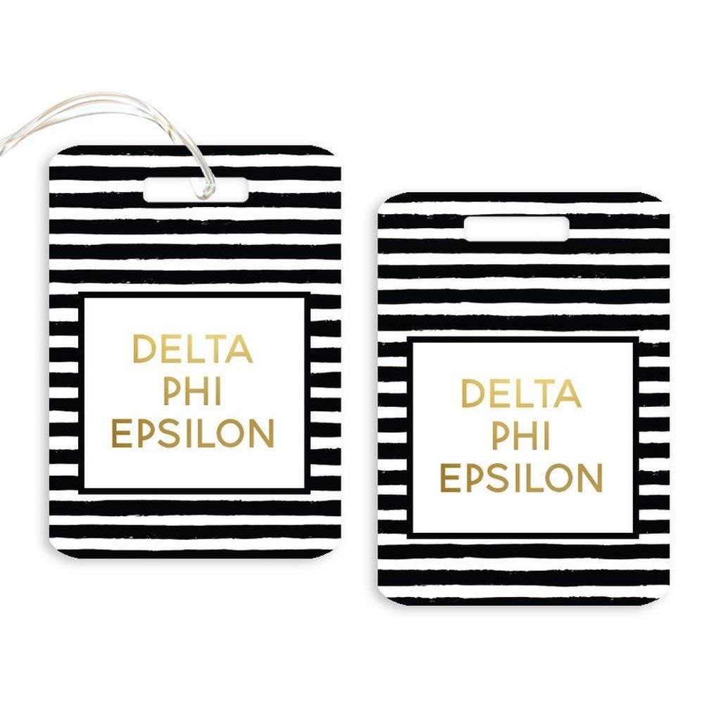 Delta Phi Epsilon DPHIE Striped Gold Luggage Tag