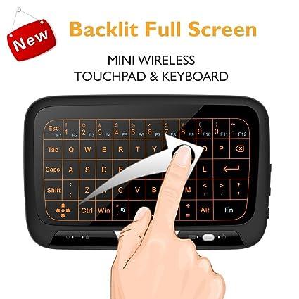 Mini Retroiluminado Inalámbrico Teclado, Combo de Touchpad y Ratón 2.4GHz Recargable Mini QWERTY Español