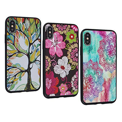 iPhone X Funda TPU, iPhone 10 Funda, Moon mood Suave TPU Silicona Back Cases Cover Relieve Mariposa Patrón Parachoque para iPhone X 5.8 pulgada Ultra Delgado Resistente a los Arañazos Protectora Cubie 3PCS - 1