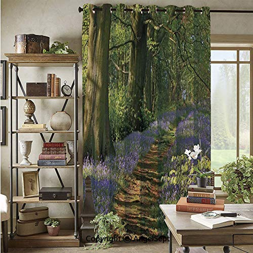 Blackout Curtains Panels,A Carpet of Bluebells Spreads Through The Woodland in Staffordshire England,72x96inch,for Bedroom,Living Room,Green Purple Brown