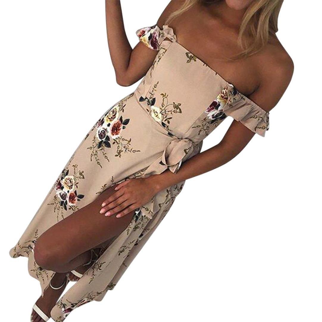 Kimloog Women Summer Off Shoulder Floral Printed Chiffon Long Maxi Dress Split Front Bowknot Beach Sundress (M, Khaki) by Kimloog