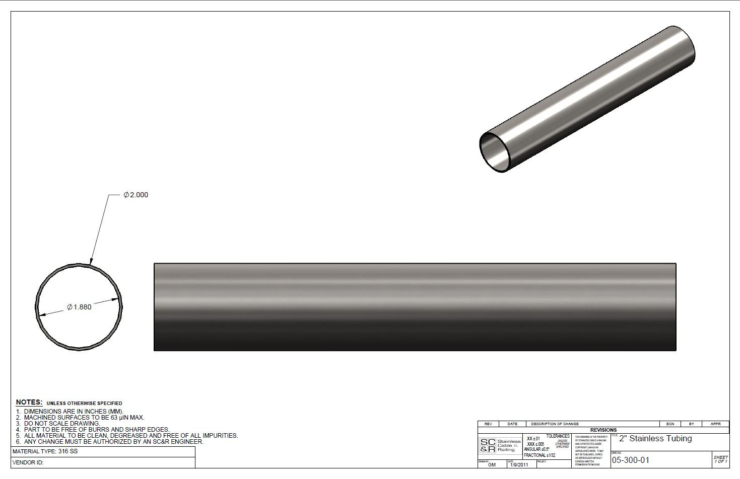 Brushed Finish T 316 Stainless Steel Tube in Various Lengths : 2 Inch OD, 1.88 Inch ID, 1.6 MM Wall (36 Inches) Intermediate Post