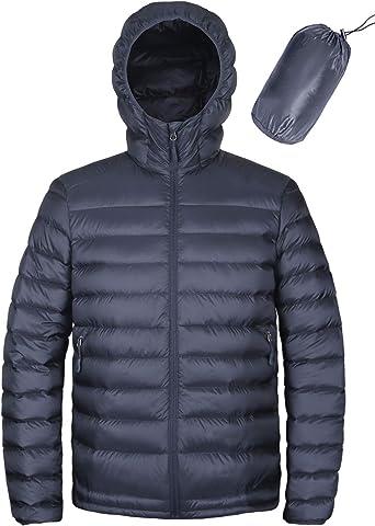 Rrive Mens Puffer Zip-Up Packable Lightweight Warm Hooded Down Jacket