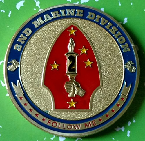 USMC Marine Corps 2nd Marine Division Military Colorized Challenge Art Coin - Marine Division Challenge Coin