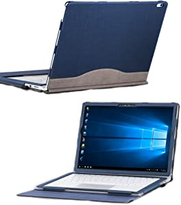 Microsoft Surface Book 2 13.5 inch PU Leather Laptop Sleeve Cover, Detachable Protective Folio Case Cover for Surface Book 2/1 (13.5