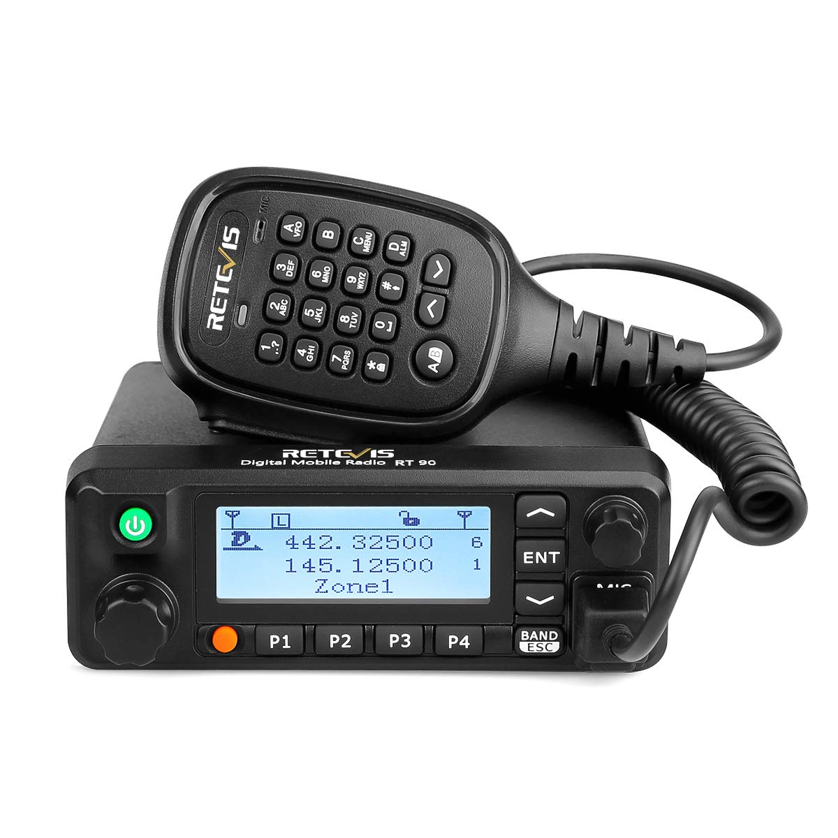 Retevis RT90 Mobile Radios Digital Dual Band 50W VHF UHF 136-174MHz 400-480Mhz 250 Zones 3000 Channel 10000 Contacts DMR Amateur Mobile Radio with Recording and Programming Cable (Black, 1 Pack)