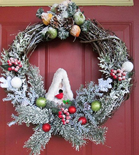 Country Snowy Pine and Grapevine Wreath - 20'' by Silkmama.com