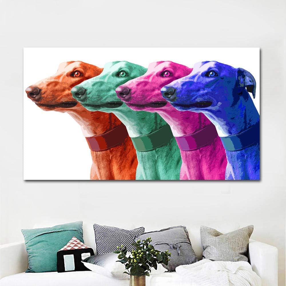 Cuadro en Lienzo de Arte Pop póster Impresiones Pintura al óleo de Animal Galgo Cuadro de Arte de Pared Colorido Moderno sin marco-50X100cm