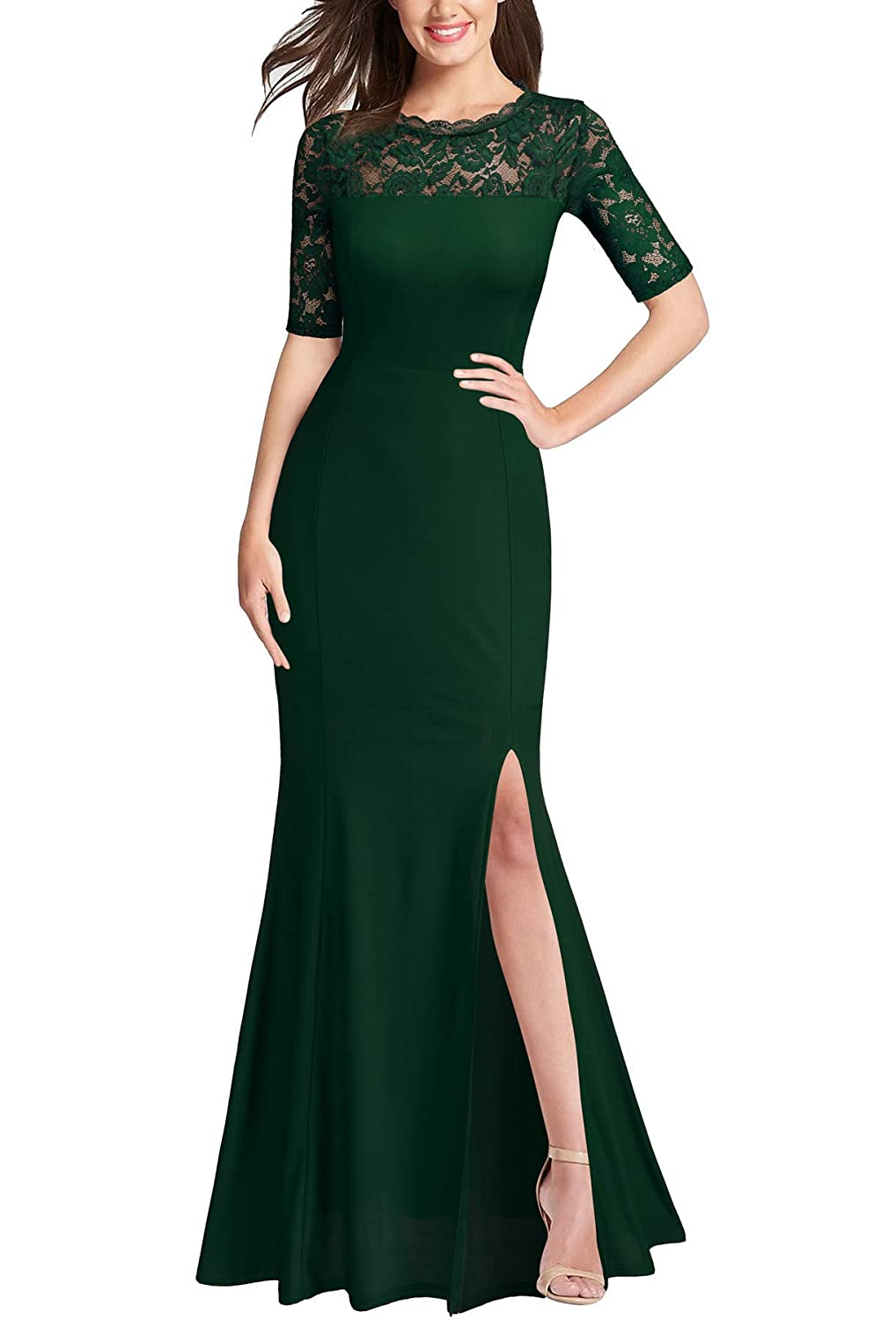 Green FORTRIC Women 3 4 Lace Sleeve Long Evening Formal Cocktail Party Dress Black