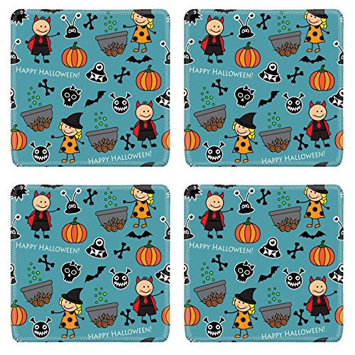 Luxlady Simple Rubber Square Coasters IMAGE ID: 32098520 Halloween seamless pattern with boiler monster pumpkins and other symbols of the holiday
