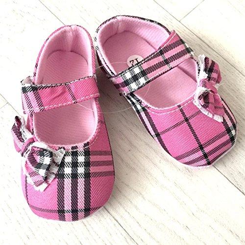 Zapato suave bebé de 0a 12meses, Modelo Tartan rosa Soutenu 3/6Meses, 6/9Meses, 0/3meses, 9/12Meses rosa Rose Talla:6/9 mois
