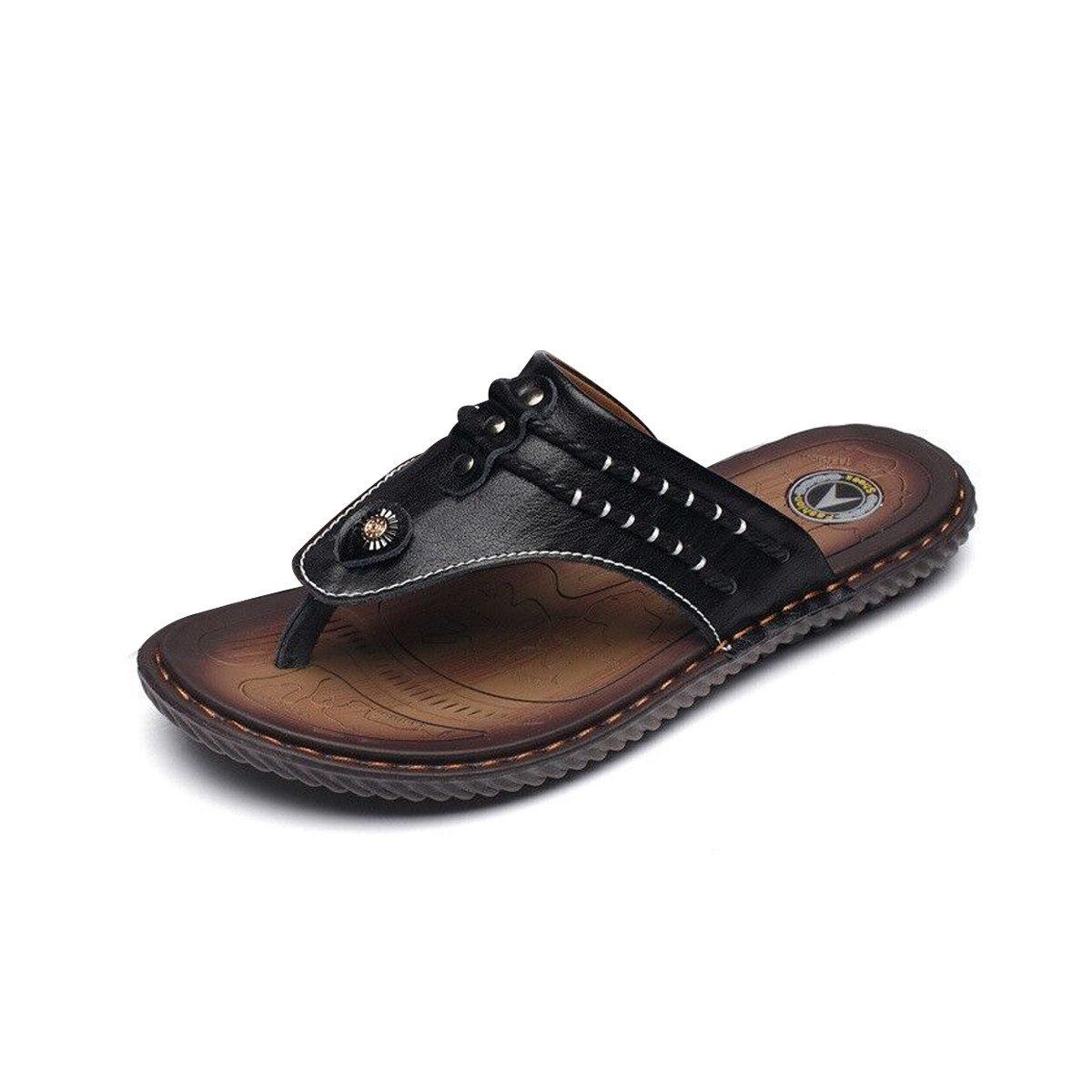 Gracosy Flip Flops, Unisex Zehentrenner Flache Hausschuhe Pantoletten Sommer Schuhe Slippers Weich Anti-Rutsch T-Strap Sandalen fuuml;r Herren Damenr  43 EU|Schwarz