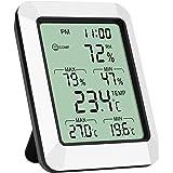 Leeofty Medidor de umidade e temperatura inteligente com display digital LCD Termômetro Higrômetro com alarme de tempo máx. /