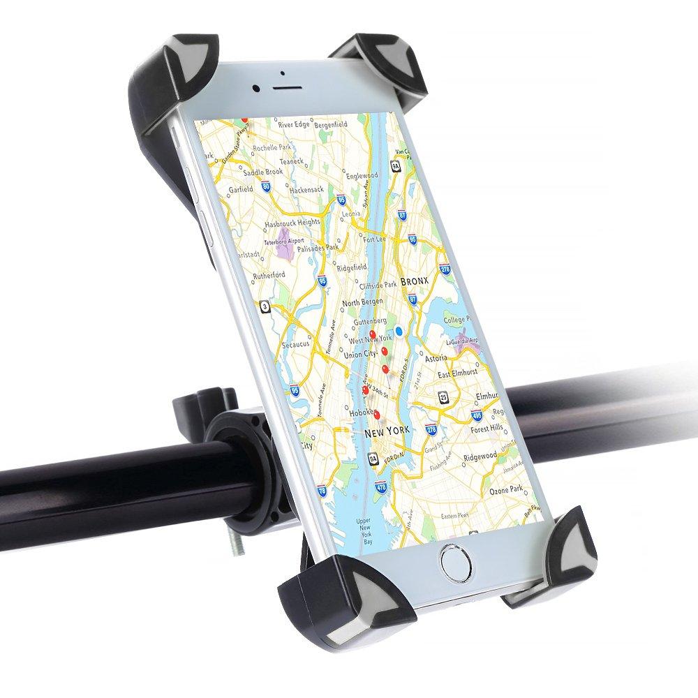 SKYEE Handyhalterung Fahrrad, Universal Fahrradhalterung Einklemmen an den Vier Ecken mit 360 Grad drehbare Fahrrad Verstellbar Lenker Handyhalter fü r iPhone X/8/7 Plus, Samsung S8 - Grau/Schwarz PST-BIK-00002