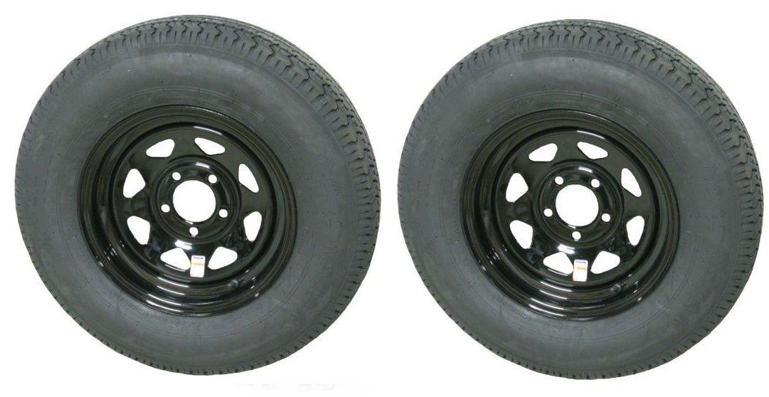 eCustomRim 2-Pack Trailer Tire and Rim Radial ST205/75R14D 2040# 14X5.5 5-4.5 Black Spoke