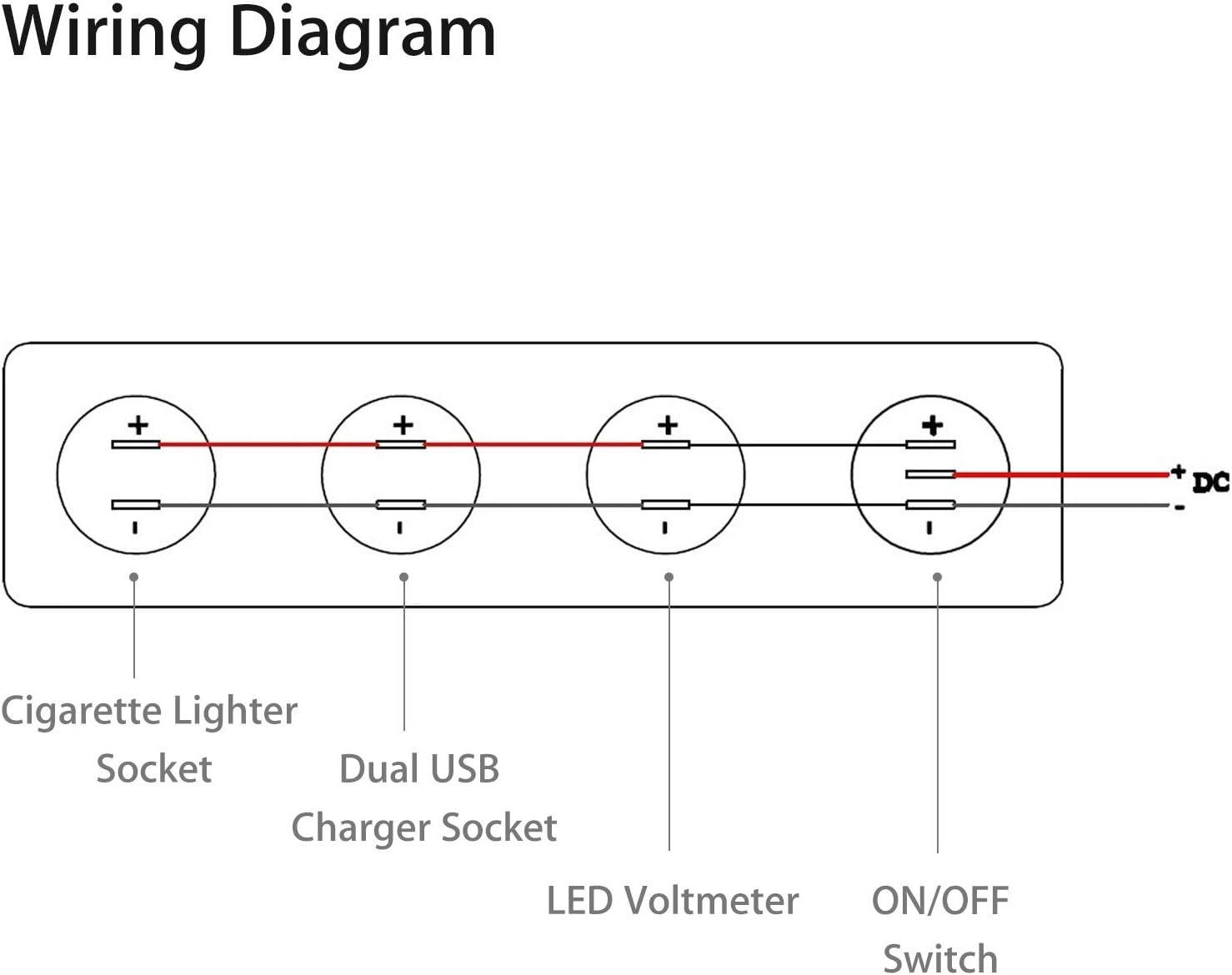 Amazon Com Linkstyle 4 In 1 Marine Switch Panel 12v 4 2a Dual Usb Charger Socket Power Outlet Led Voltmeter Cigarette Lighter Socket Led Lighted On Off Rocker Toggle Switch For