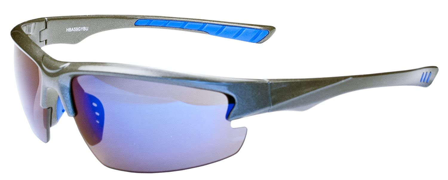 97dac997e93e Amazon.com: Hilton Bay A59 Sunglasses Wrap Style UV400 Lens for Baseball,  Softball, Cycling, Golf, Kayaking and All Active Sports (Black & Blue):  Shoes