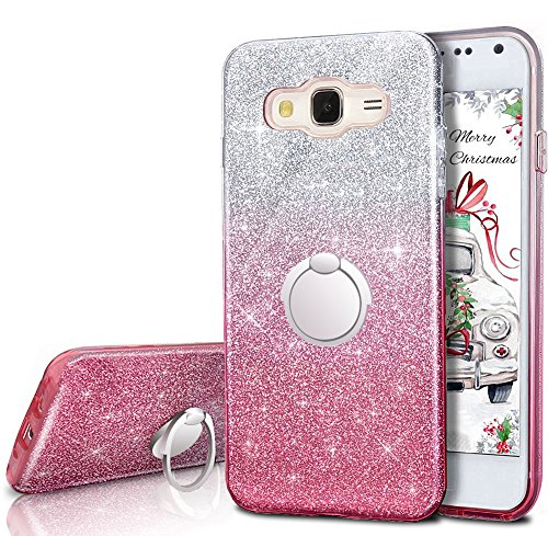 Galaxy Grand Prime Case, Galaxy J2 Prime Case,Silverback Girls Bling Glitter Case With 360 Rotating Ring Stand, Soft TPU Cover + Hard PC Shell for ...